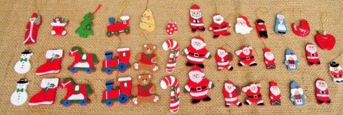 38 VINTAGE WOODEN CHRISTMAS ORNAMENTS SANTA STOCKING TRAIN CARDINAL CANDY CANES