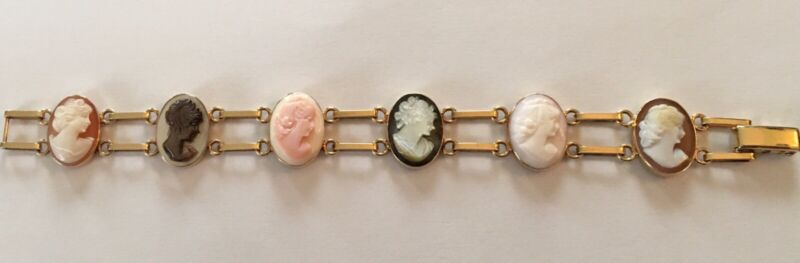 "VINTAGE 14K SOLID YELLOW GOLD 6 CAMEO 7 1/4"" BRACELET 17.1 grams"