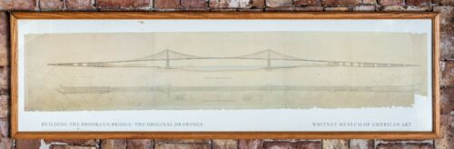 Brooklyn Bridge original drawing 1867. Framed by Whitney Museum