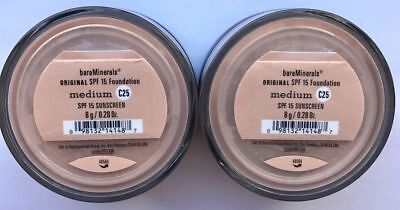 Bare Minerals Escentuals SPF 15 Foundation MEDIUM - C25 8g XL - PACK OF 2