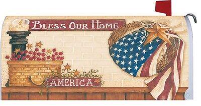 PATRIOTIC AMERICANA *Bless Our Home* Custom Decor MAILBOX COVER USA Made