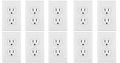 Leviton Standard TR Duplex Receptacle Wall Outlet 15A Wall Plates Incl (10 Pack) Wholesale Wall Plates