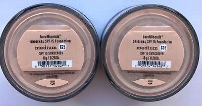 2X Bare Minerals Escentuals Spf 15 Foundation Medium   C25 8G Xl   Pack Of 2