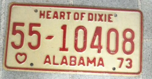 1973 ALABAMA~55 10408~LICENSE PLATE