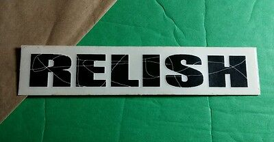 RELISH CLEAR SEE THROUGH  BLACK LETTERS 4x5.5 STICKER
