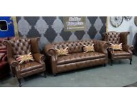 NEW Chesterfield Suite 3 Seater Sofa & 2 Wing Back Chairs Tan Brown Leather - UK Delivery