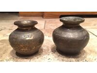 Pair of Antique Middle Eastern Brass pots