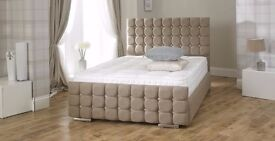**14-DAY MONEY BACK GUARANTEE** Crystal Crushed Velvet Luxury Ottoman Storage Bed - OVER 70% OFF!