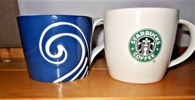 2 Starbucks 2008 Mugs Green Mermaid Logo 12oz. & Blue White Swirl 13oz. (Green Swirl Logo)