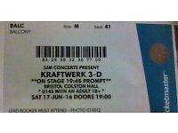 Kraftwerk 3-D ticket - 17 June 2017 - Colston Hall, Bristol: Balcony seat