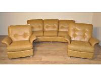 Large Vintage Retro G Plan Teak 3 Piece Suite 3 Seat Sofa & 2 Matching Armchairs