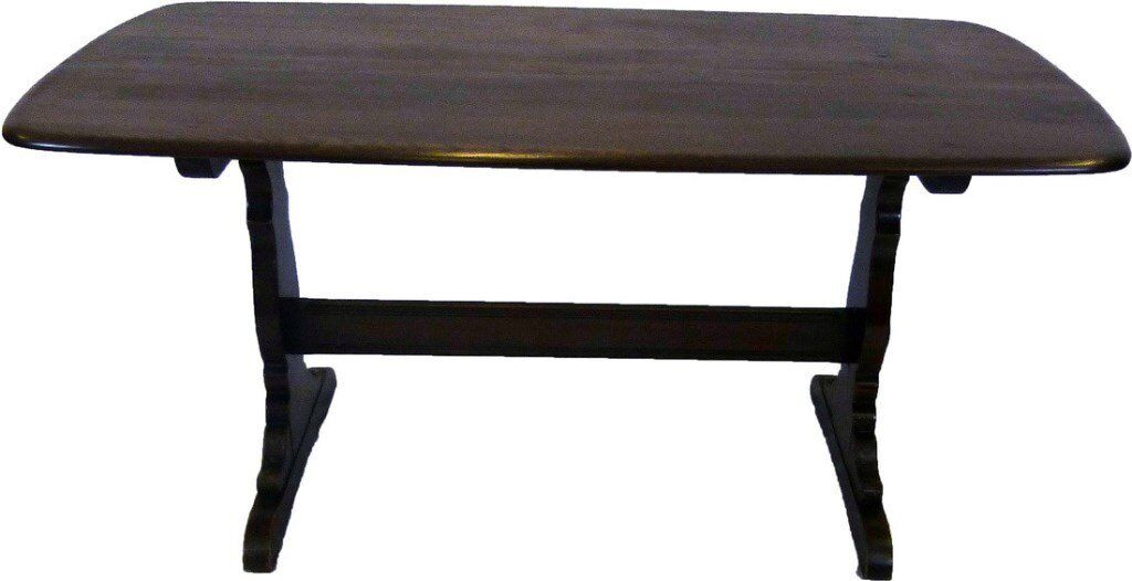 TOTAL BARGAIN £125 GENUINE ERCOL DARK FINISH OLD COLONIAL SOLID WOOD LARGE VINTAGE DINING TABLE VGC