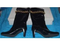 Brand New - Abro Patent Look With Gold Chain Boots Size 5 and Size 7