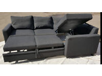 Fabric Corner Sofa Bed - Charcoal