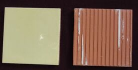 73 CERAMIC WALL TILES - PALE YELLOW 11cm x 11cm