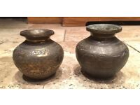 20C Pair of Brass Middle Eastern Pots