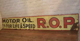 R.O.P Motor oil enamel sign early advertising decor mancave garage metal vintage antique car