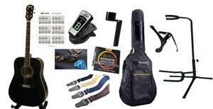 Acoustic Guitar for beginners Black 41 inch full size with 9 items Package