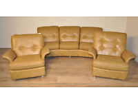 Large Vintage Retro G Plan Teak 3 Piece Suite 3 Seat Sofa & 2 Matching Armchairs