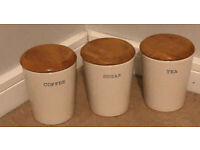 White Ceramic Tea Coffee Sugar Jars Storage Canisters with the Wooden Top