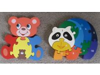 2 Solid Wood Animal Jigsaw Puzzles - suit ages 2 to 5 years - £5 for both