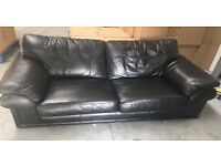 Black Leather Sofa - 2 seater - very good condition - like new - must see - can deliver locally-