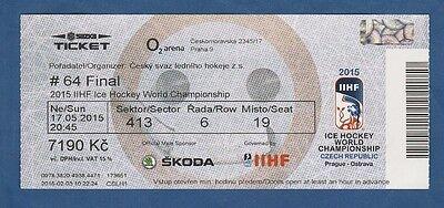Orig.Ticket  Eishockey WM Tschechien 2015  FINALE  KANADA - RUSSLAND  !  RARITÄT
