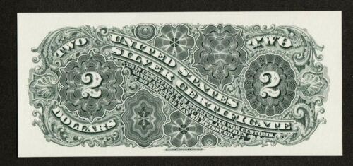 Proof Print or Intaglio by BEP Back of 1886 $2 Silver Certificate   *FREE SHIP*