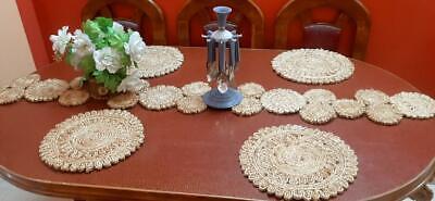 Jute Table Runner And 4 Dinning Mats Macrame Hand Weaving For Dining Table Decor