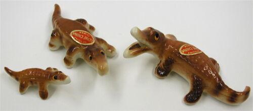 Vintage Alligator Family Miniature 3 Bone China Figurines Animals