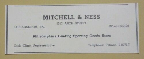 1949 Mitchell & Ness Sporting Goods Advertisement Philadelphia, PA