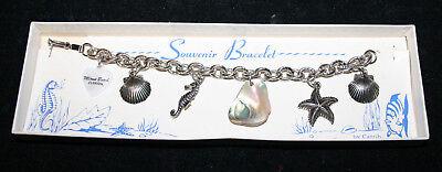 Vintage Caribe Miami Beach Silver Tone Souvenir Charm Bracelet in Original Box - Costumes In Miami