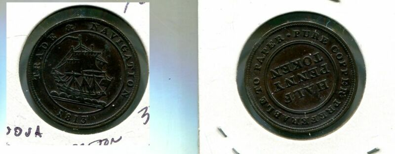 1813 CANADA HALF CENT TOKEN NOVA SCOTIA TRADE AND NAVIGATION 3752N