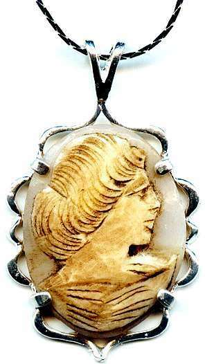 Antique Italian Sea Shell Cameo Torre Del Greco Italy Hand Carved 1850's Silver
