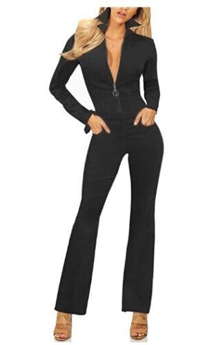 Revolt Jeans Vintage Long-Sleeve Blk Stretch Denim Jumpsuit (sz L)