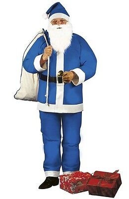 Blue Father Xmas Santa Claus Christmas Fancy Dress Costume M/L Includes Beard