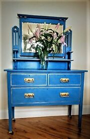 Dressing table/Dresser~Blue with gold gilding~Statement Piece of Furniture