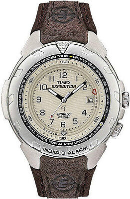 Mens Timex Indiglo Expedition Analog Alarm Brown Leather Band Date Watch T47902