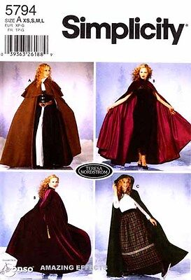 Simplicity Sewing Pattern 5794 Women's Cape Costume 6-20 XS-L misses