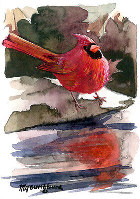 ACEO Limited Edition - Lonely journey, Cardinal art print, Gift for bird lovers