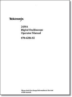 Tektronix 2430a Operators Manual Comb Bound Protective Plastic Covers