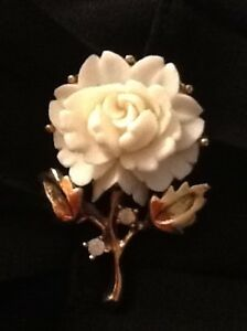 Vintage ivory rose brooch