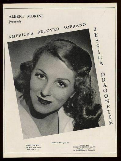 1941 Jessica Dragonette photo opera recital trade booking ad