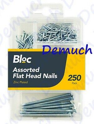 New 250 Pack ASSORTED FLAT HEAD NAILS Zinc Plated Steel Building Wood Home Work
