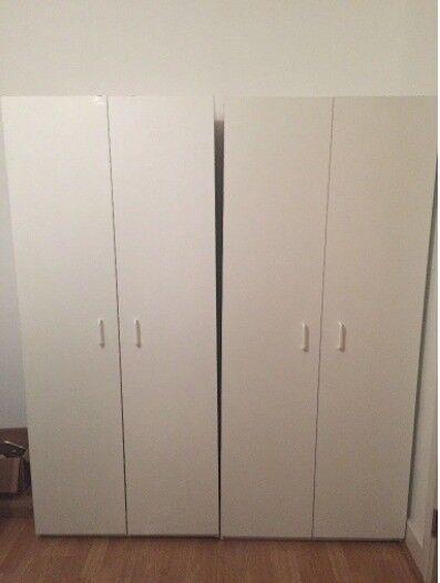2 x large white wardrobes