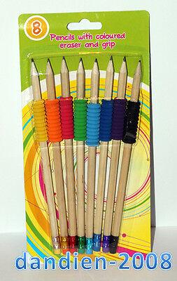 8 Bleistifte Griff Schreibhilfe Blei Stift + Radiergummi Gummi Lernhilfe Schule