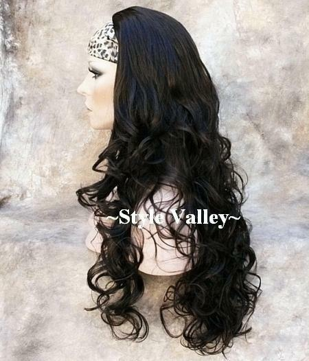 Brown Black 3/4 Fall Hair Piece Long Curly Gorgeous Layers Half Wig Hairpiece