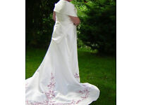 Stunning Ivory 2 piece Wedding Dress with burgundy embroidery detail