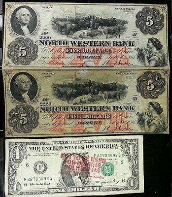 UNCUT 2 Note Sheet 1861 NORTH WESTERN BANK Warren PA $5 Bill OBSOLETE Civil War