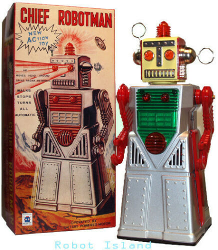 Chief Robotman Battery Operated Tin Toy Silver